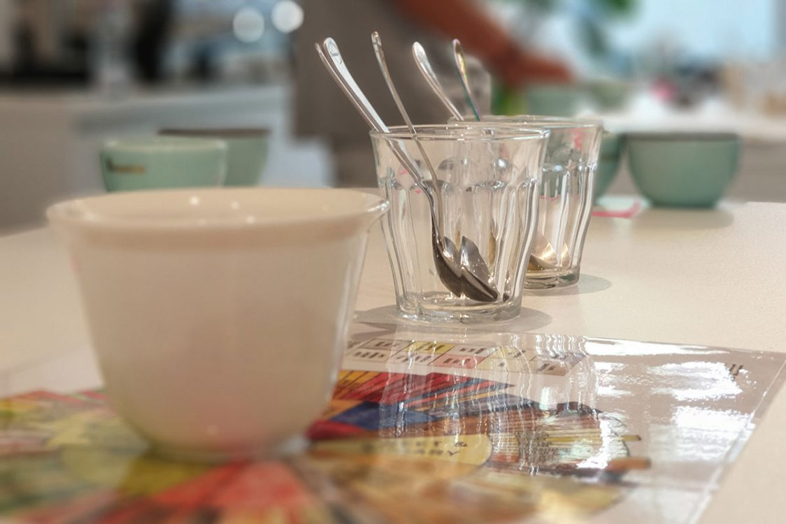 Cupping bowls and flavor wheel
