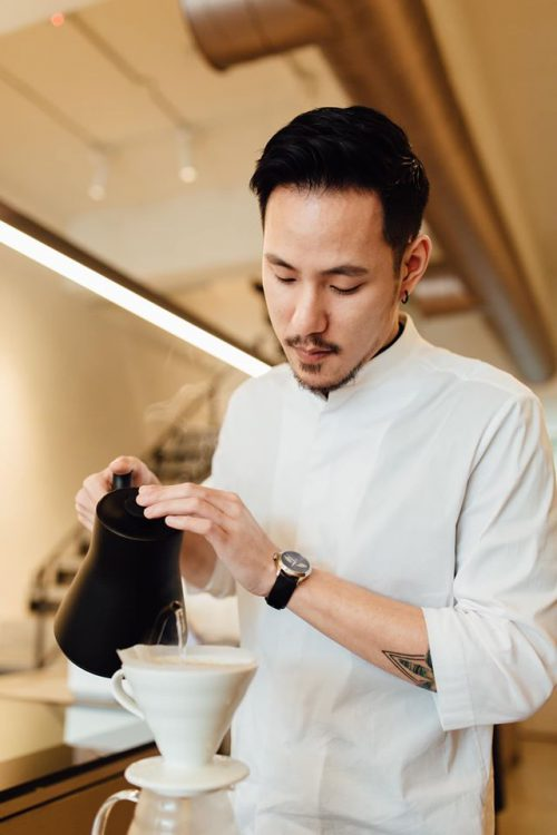 Chad Wang, during a pour over